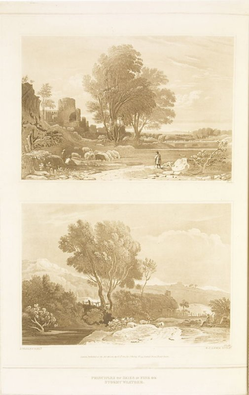 Principles of Skies: Fine Weather; Stormy Weather.–Two Views (called pl. L and pl. x,M) pl. 6 in the book A Treatise on the Principles of Landscape Design by John Varley (London: Sherwood, Gilbert, and Piper, [ca. 1821])