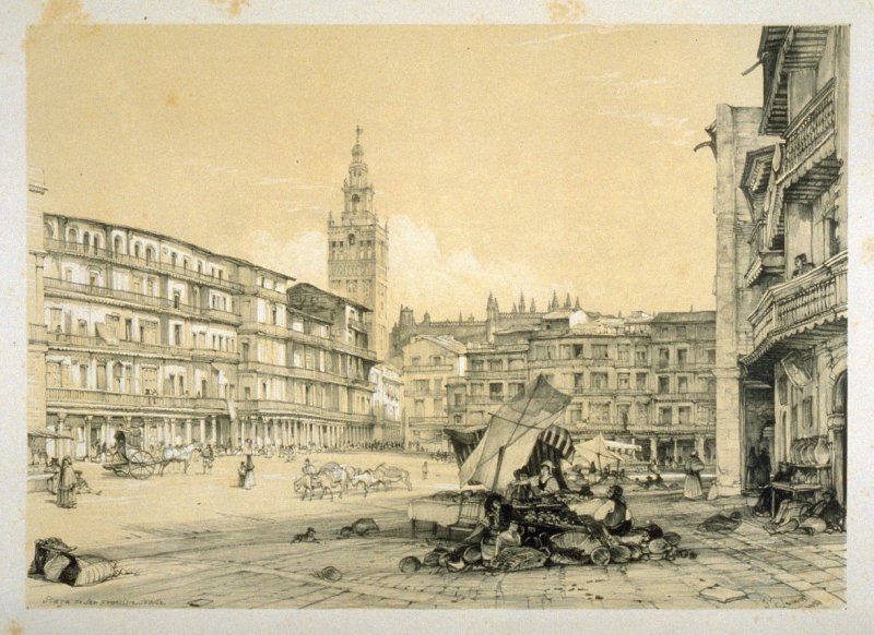 Plaza de San Francisco: the great square of Seville, third plate in the book, Sketches of Spain and Spanish Character (London: F. G. Moon … John F. Lewis, [1836])