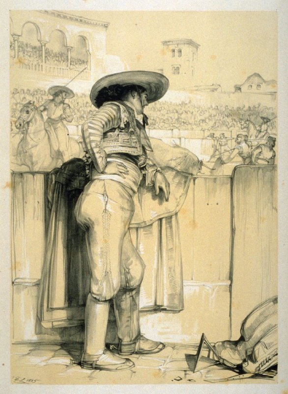 Bullfighter, a scene in the arena, fourth plate in the book, Sketches of Spain and Spanish Character (London: F. G. Moon … John F. Lewis, [1836])