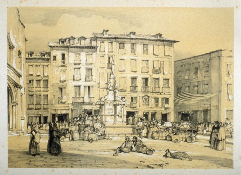 Puerta del Sol, Madrid, sixth plate in the book, Sketches of Spain and Spanish Character (London: F. G. Moon … John F. Lewis, [1836])