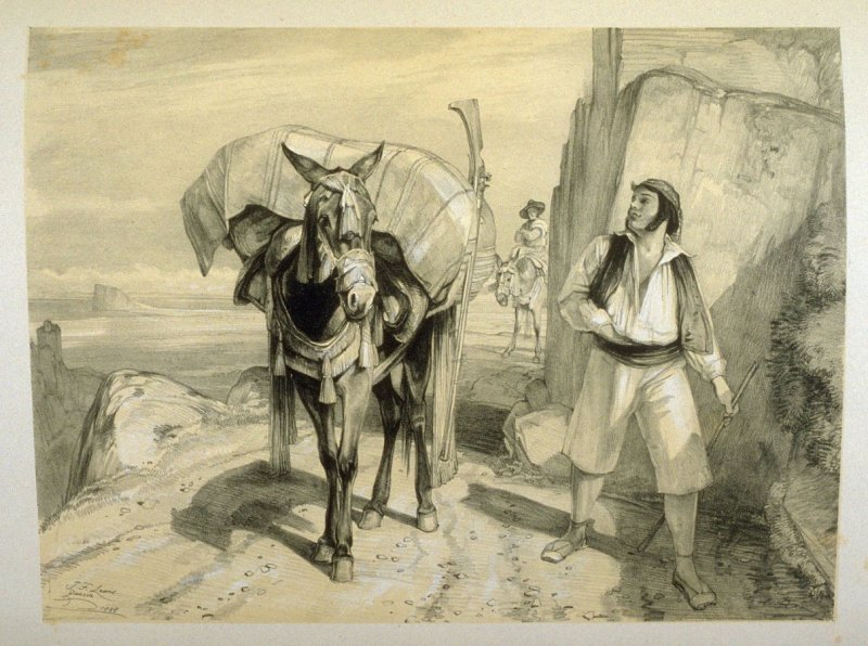 Gaucin Smugglers coming out of Gibraltar, eighteenth plate in the book, Sketches of Spain and Spanish Character (London: F. G. Moon … John F. Lewis, [1836])