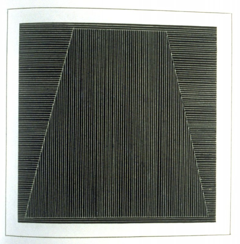 Plate 5 in the book Six geometric figures and all their combinations using white lines in two directions (New York: Parasol Press Ltd. :1980), vol. 2 (of 2) ( white on black)