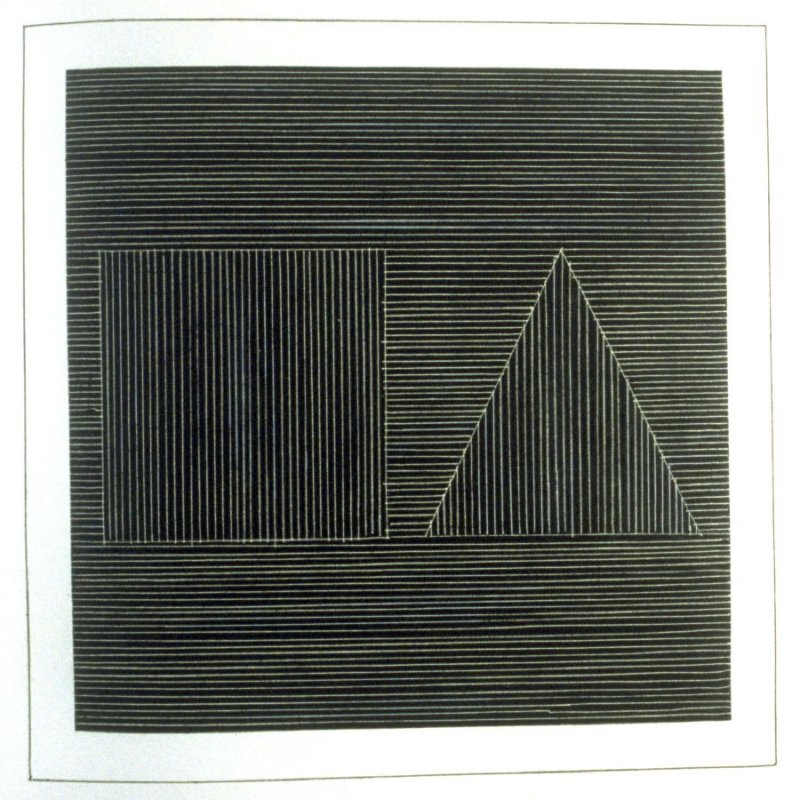 Plate 8 in the book Six geometric figures and all their combinations using white lines in two directions (New York: Parasol Press Ltd. :1980), vol. 2 (of 2) ( white on black)