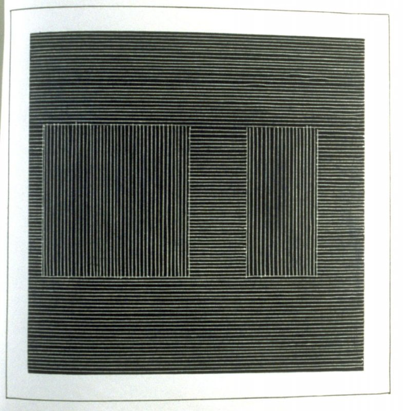 Plate 9 in the book Six geometric figures and all their combinations using white lines in two directions (New York: Parasol Press Ltd. :1980), vol. 2 (of 2) ( white on black)