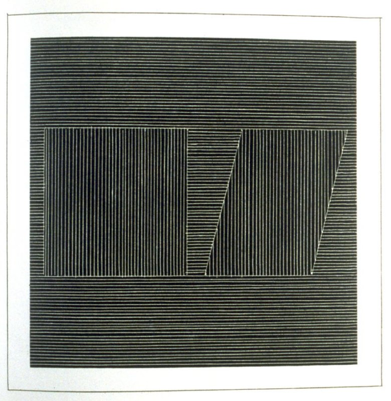 Plate 11 in the book Six geometric figures and all their combinations using white lines in two directions (New York: Parasol Press Ltd. :1980), vol. 2 (of 2) ( white on black)