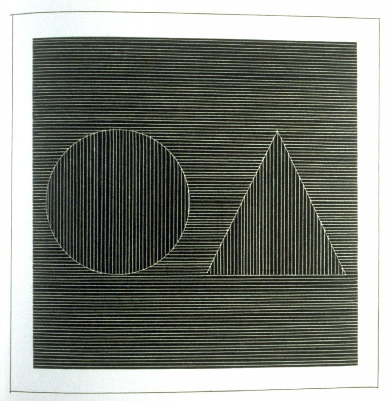 Plate 12 in the book Six geometric figures and all their combinations using white lines in two directions (New York: Parasol Press Ltd. :1980), vol. 2 (of 2) ( white on black)
