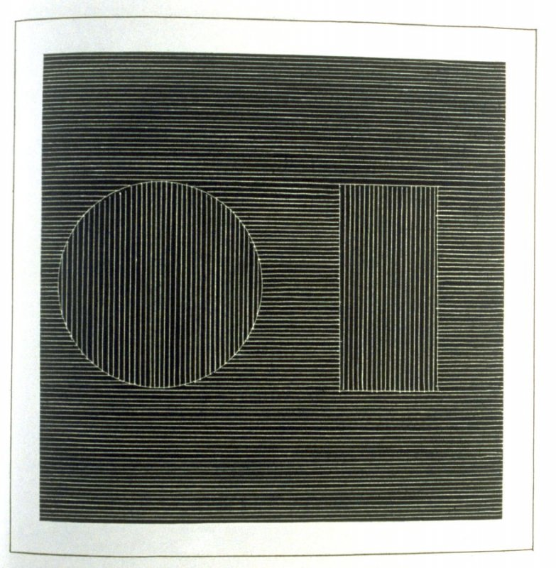 Plate 13 in the book Six geometric figures and all their combinations using white lines in two directions (New York: Parasol Press Ltd. :1980), vol. 2 (of 2) ( white on black)