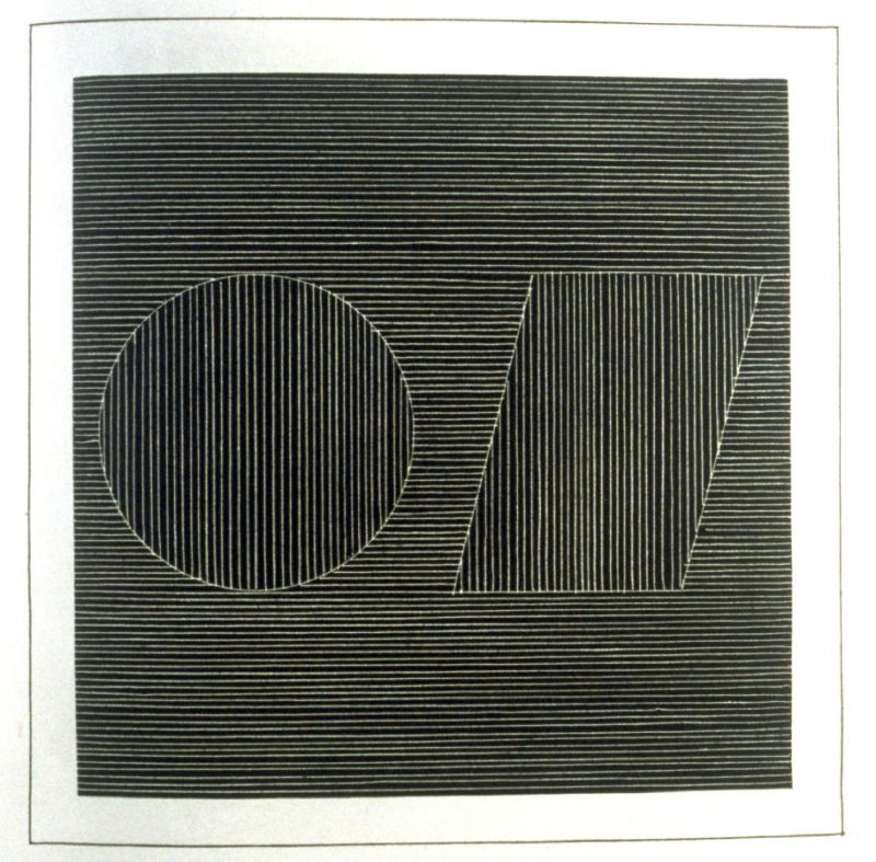Plate 15 in the book Six geometric figures and all their combinations using white lines in two directions (New York: Parasol Press Ltd. :1980), vol. 2 (of 2) ( white on black)
