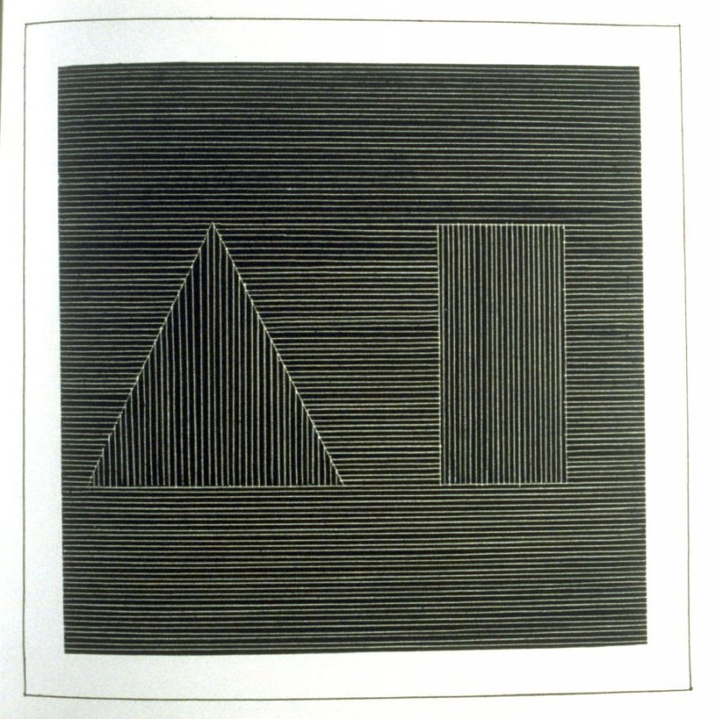 Plate 16 in the book Six geometric figures and all their combinations using white lines in two directions (New York: Parasol Press Ltd. :1980), vol. 2 (of 2) ( white on black)