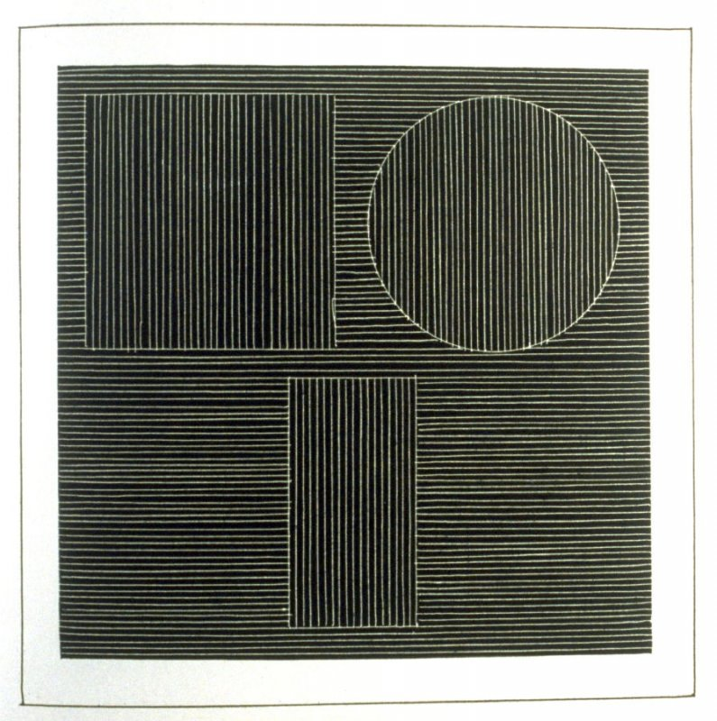 Plate 23 in the book Six geometric figures and all their combinations using white lines in two directions (New York: Parasol Press Ltd. :1980), vol. 2 (of 2) ( white on black)