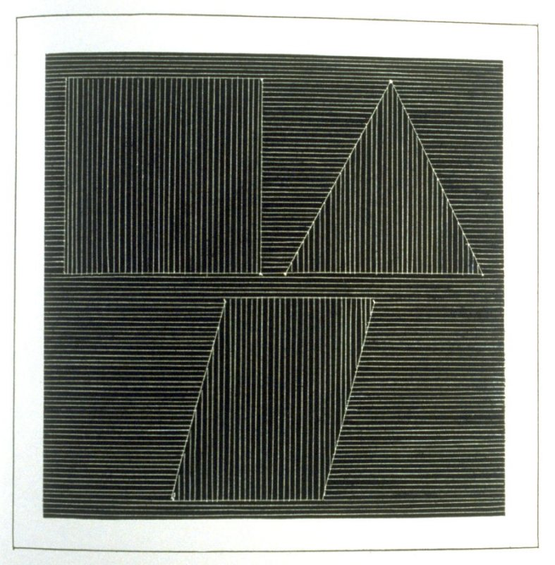 Plate 28 in the book Six geometric figures and all their combinations using white lines in two directions (New York: Parasol Press Ltd. :1980), vol. 2 (of 2) ( white on black)