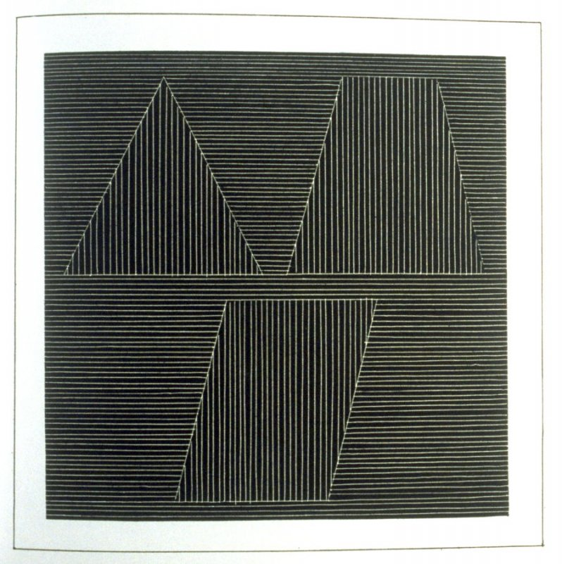 Plate 40 in the book Six geometric figures and all their combinations using white lines in two directions (New York: Parasol Press Ltd. :1980), vol. 2 (of 2) ( white on black)