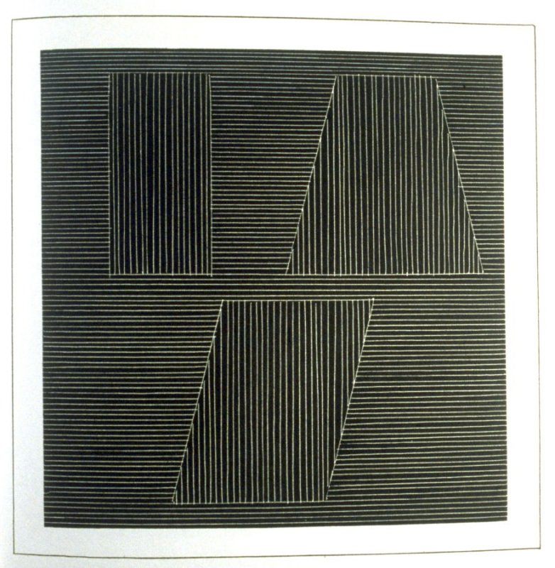 Plate 41 in the book Six geometric figures and all their combinations using white lines in two directions (New York: Parasol Press Ltd. :1980), vol. 2 (of 2) ( white on black)
