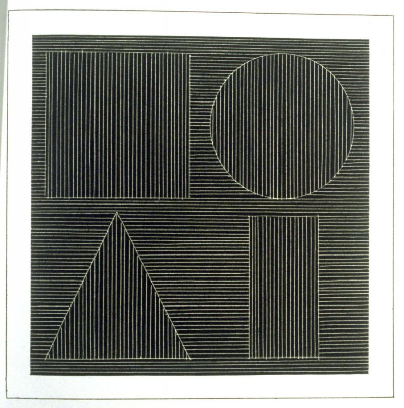 Plate 42 in the book Six geometric figures and all their combinations using white lines in two directions (New York: Parasol Press Ltd. :1980), vol. 2 (of 2) ( white on black)