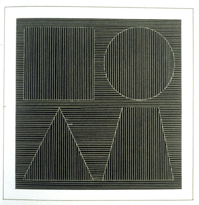 Plate 43 in the book Six geometric figures and all their combinations using white lines in two directions (New York: Parasol Press Ltd. :1980), vol. 2 (of 2) ( white on black)