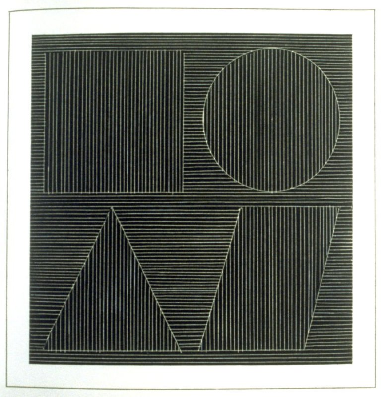 Plate 44 in the book Six geometric figures and all their combinations using white lines in two directions (New York: Parasol Press Ltd. :1980), vol. 2 (of 2) ( white on black)