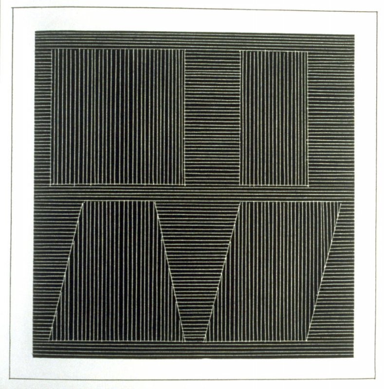 Plate 51 in the book Six geometric figures and all their combinations using white lines in two directions (New York: Parasol Press Ltd. :1980), vol. 2 (of 2) ( white on black)