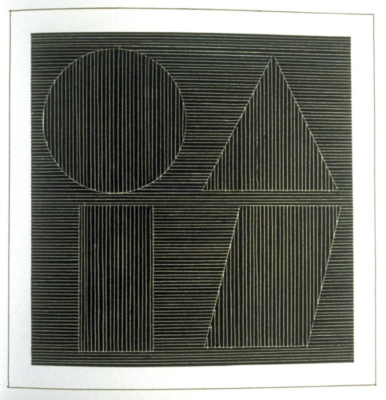 Plate 53 in the book Six geometric figures and all their combinations using white lines in two directions (New York: Parasol Press Ltd. :1980), vol. 2 (of 2) ( white on black)