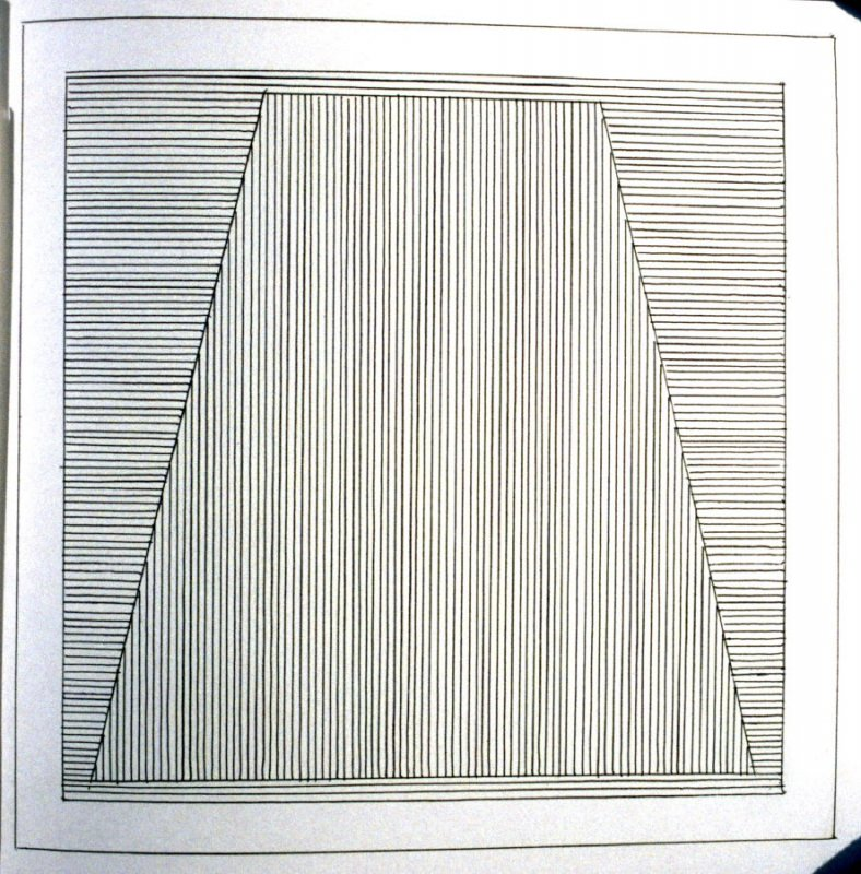 Plate 5 in the book Six geometric figures and all their combinations using black lines in two directions (New York: Parasol Press Ltd. :1980), vol. 1 (of 2) (black)