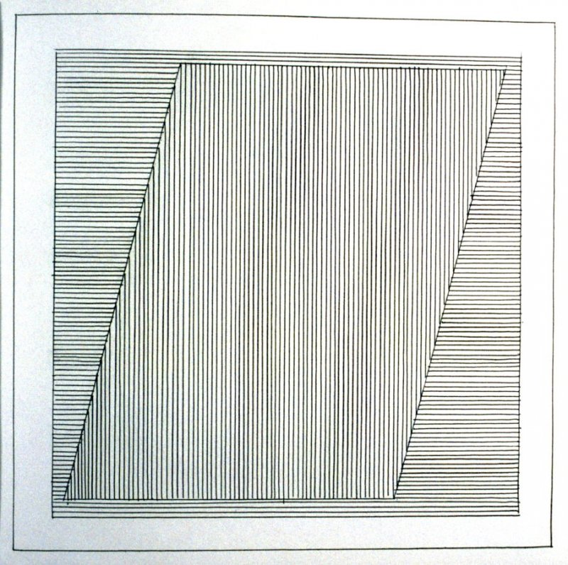 Plate 6 in the book Six geometric figures and all their combinations using black lines in two directions (New York: Parasol Press Ltd. :1980), vol. 1 (of 2) (black)