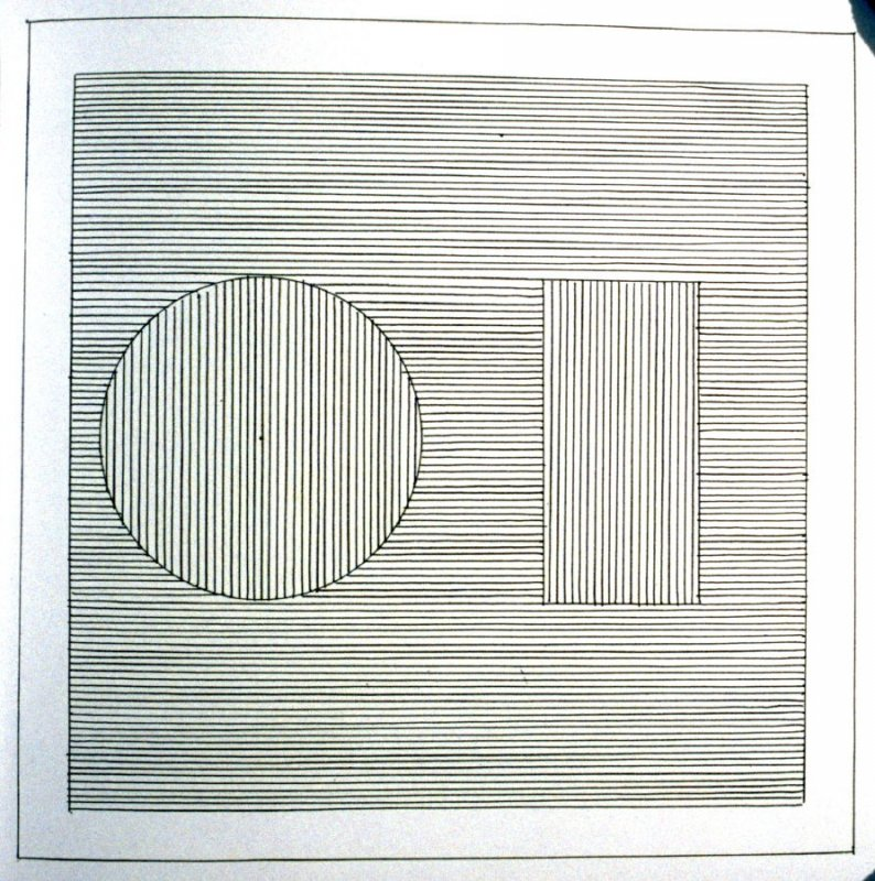 Plate 13 in the book Six geometric figures and all their combinations using black lines in two directions (New York: Parasol Press Ltd. :1980), vol. 1 (of 2) (black)