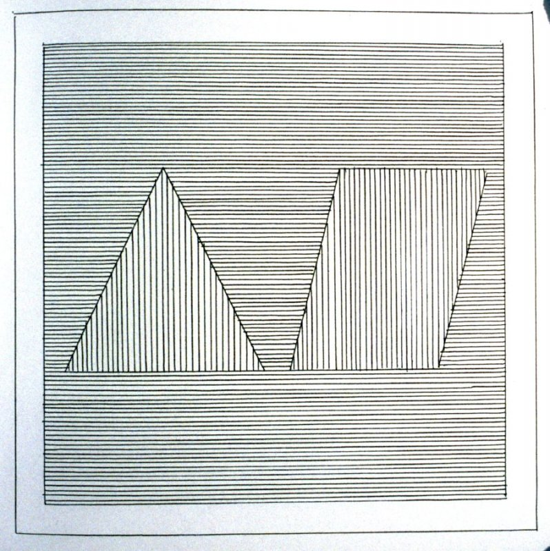Plate 18 in the book Six geometric figures and all their combinations using black lines in two directions (New York: Parasol Press Ltd. :1980), vol. 1 (of 2) (black)