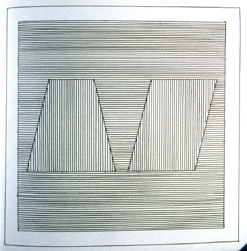 Plate 21 in the book Six geometric figures and all their combinations using black lines in two directions (New York: Parasol Press Ltd. :1980), vol. 1 (of 2) (black)