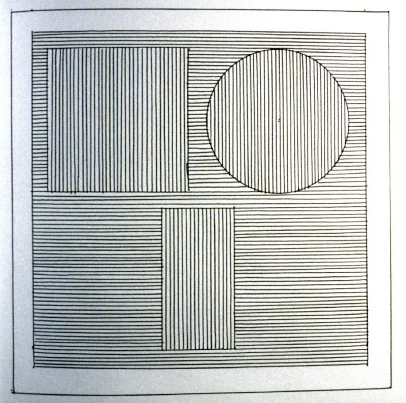 Plate 23 in the book Six geometric figures and all their combinations using black lines in two directions (New York: Parasol Press Ltd. :1980), vol. 1 (of 2) (black)