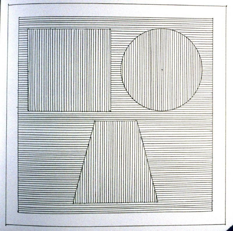 Plate 24 in the book Six geometric figures and all their combinations using black lines in two directions (New York: Parasol Press Ltd. :1980), vol. 1 (of 2) (black)