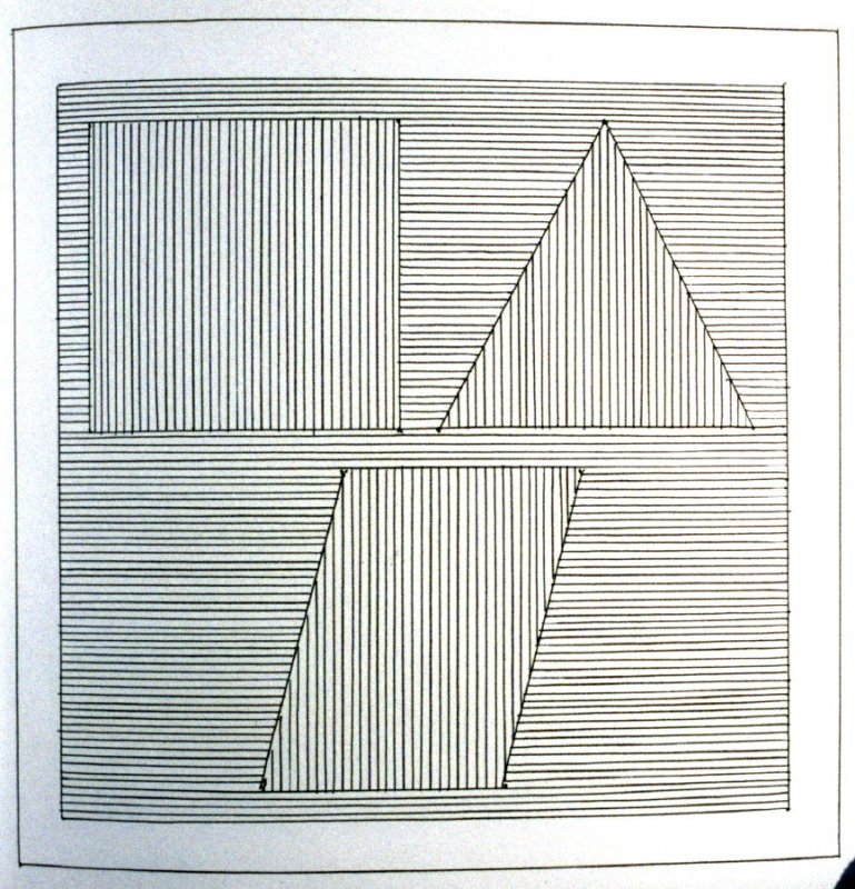 Plate 28 in the book Six geometric figures and all their combinations using black lines in two directions (New York: Parasol Press Ltd. :1980), vol. 1 (of 2) (black)