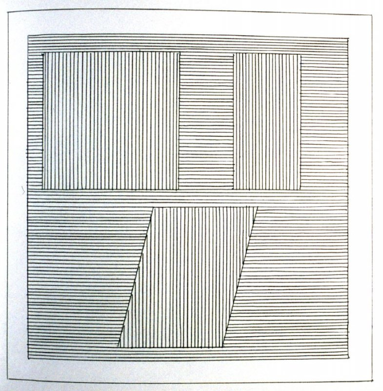 Plate 30 in the book Six geometric figures and all their combinations using black lines in two directions (New York: Parasol Press Ltd. :1980), vol. 1 (of 2) (black)
