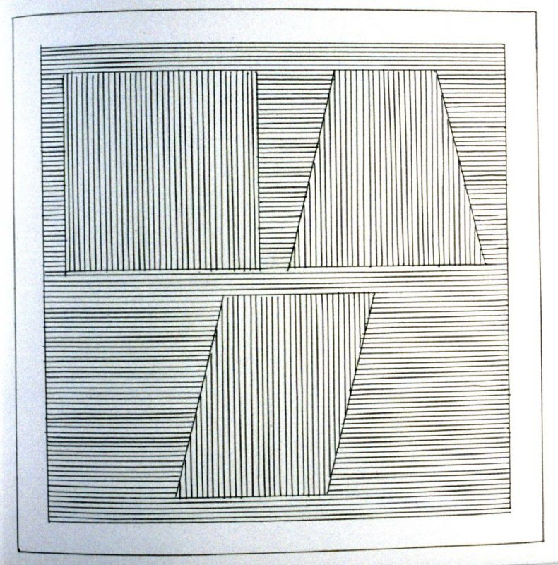 Plate 31 in the book Six geometric figures and all their combinations using black lines in two directions (New York: Parasol Press Ltd. :1980), vol. 1 (of 2) (black)
