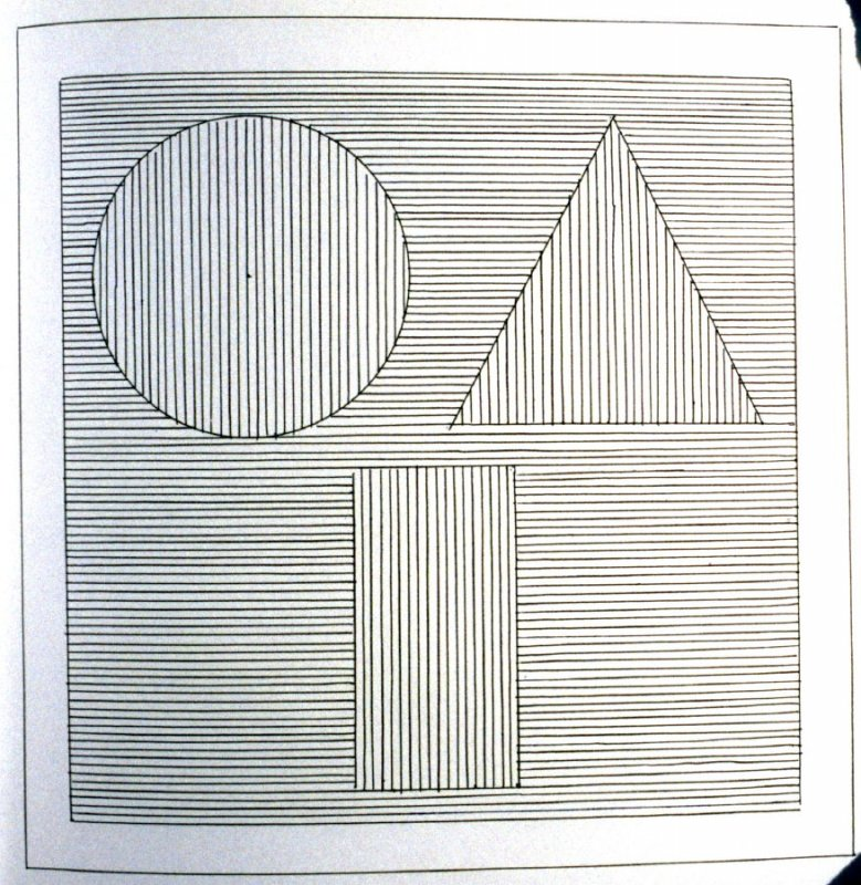 Plate 32 in the book Six geometric figures and all their combinations using black lines in two directions (New York: Parasol Press Ltd. :1980), vol. 1 (of 2) (black)