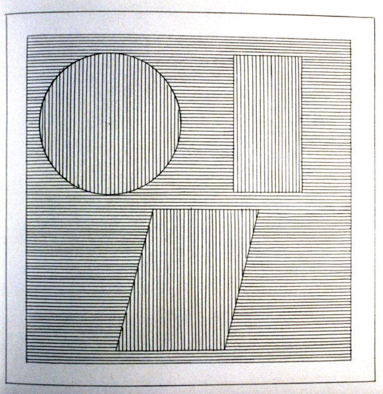 Plate 36 in the book Six geometric figures and all their combinations using black lines in two directions (New York: Parasol Press Ltd. :1980), vol. 1 (of 2) (black)