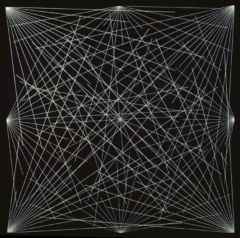 Lines from the Corner, Sides and the Center to Points on a Grid