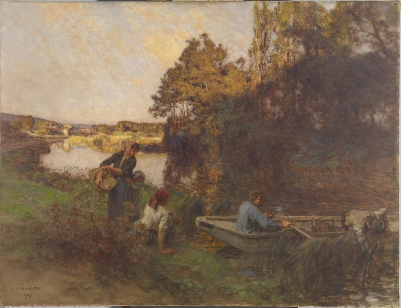 River Scene with Five Figures and a Boat