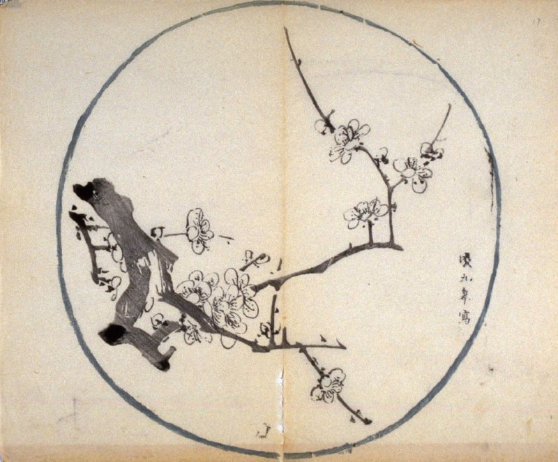 Plum Branch (growing from left), No.12 from the Volume on Round Fans - from: The Treatise on Calligraphy and Painting of the Ten Bamboo Studio