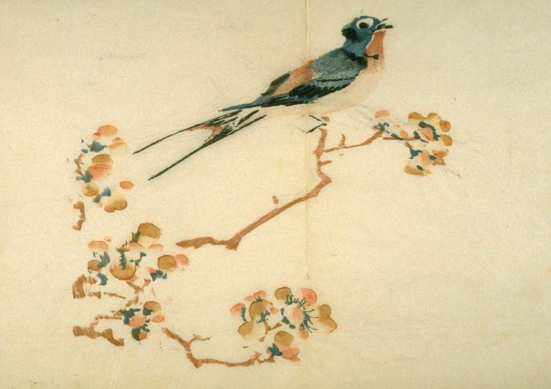 Swallow on Plum Branch, No.3 from Volume I(1+2) on Miscellaneous Subjects - from: The Treatise on Calligraphy and Painting of the Ten Bamboo Studio