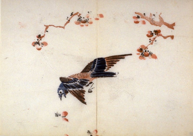 Bird in Flight and Falling Petals, No.6 from the Volume on Birds - from: The Treatise on Calligraphy and Painting of the Ten Bamboo Studio