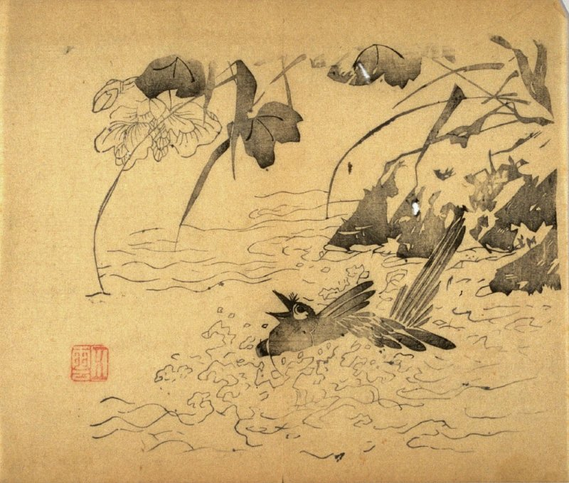 Bird Splashing, No.11 from the Volume on Birds - from: The Treatise on Calligraphy and Painting of the Ten Bamboo Studio