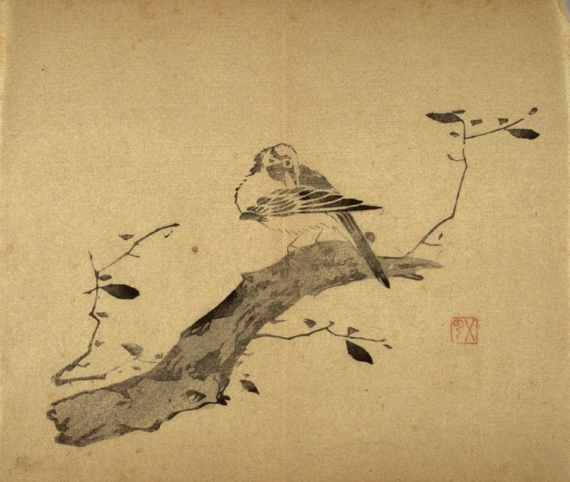 Bird on Flowering Bush, Head Twisted, No.19 from the Volume on Birds - from: The Treatise on Calligraphy and Painting of the Ten Bamboo Studio