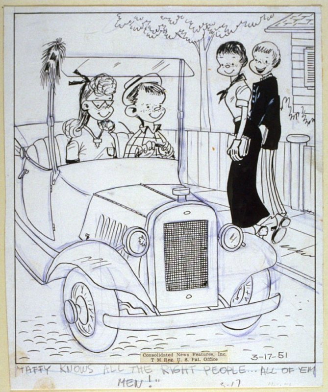 """""""Taffy knows all the right people..."""", for the syndicated cartoon series Emmy Lou"""