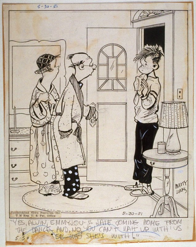 """""""Yes Alvin, EmmyLou is late coming home..."""" , for the syndicated cartoon series Emmy Lou"""