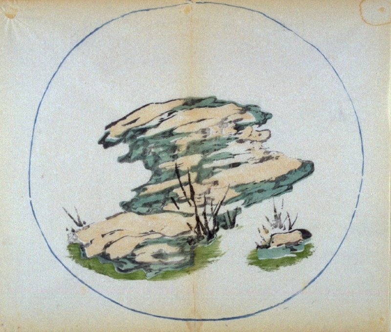 Horizontally projecting stone, smaller at right, grasses, No.16 from the Volume on Round Fans - from: The Treatise on Calligraphy and Painting of the Ten Bamboo Studio