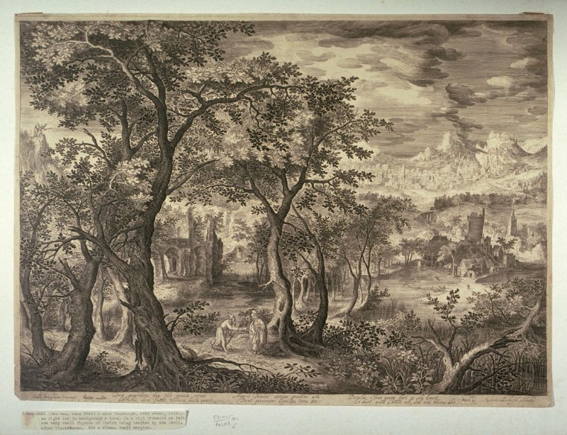 Landscape with river, village on right and in background a town. On a high pinnacle on left are very small figures of Christ being tempted by the devil