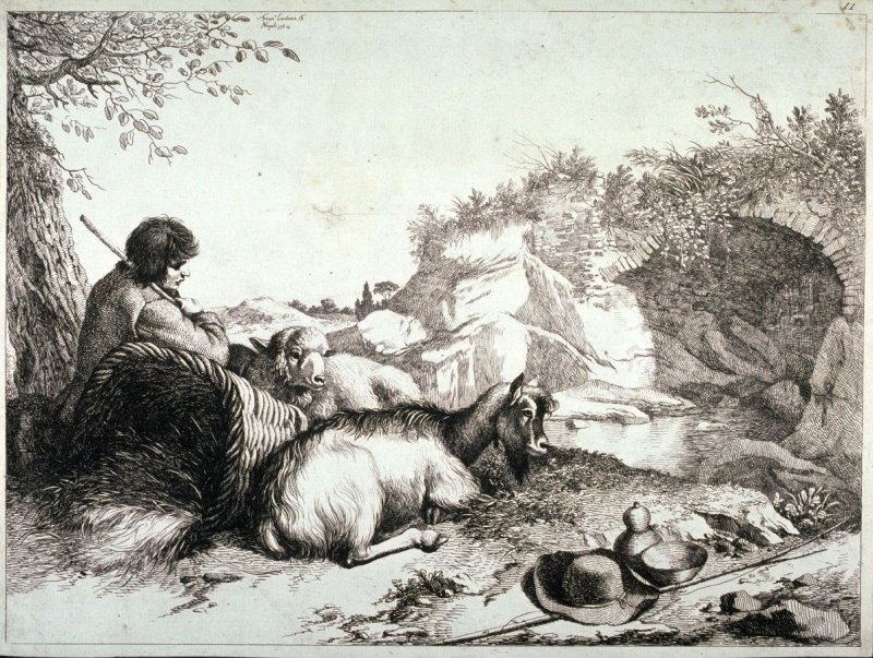 Plate 11 from a set of etchings of Animals and Peasants