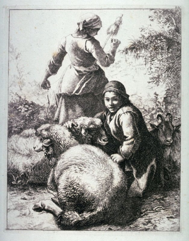 Plate 12 from a set of etchings of Animals and Peasants