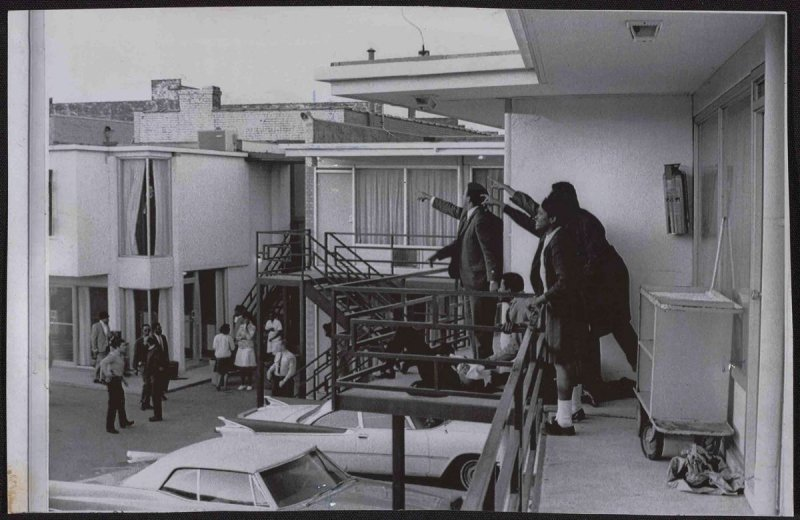 """On Memphis balcony after King was shot,"" Memphis, TN, 1968"
