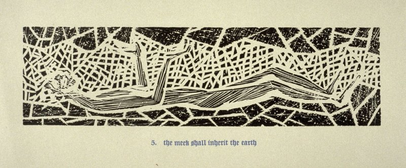 The Meek Shall Inherit the Earth - Pl.5 from Back to the Cave, a Portfolio of Twelve Prints