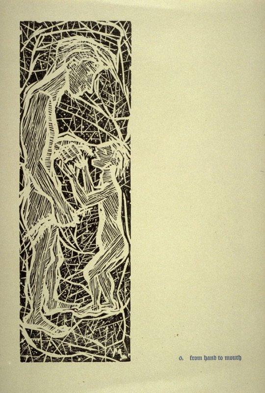 From Hand to Mouth - Pl.6 from Back to the Cave, a Portfolio of Twelve Prints